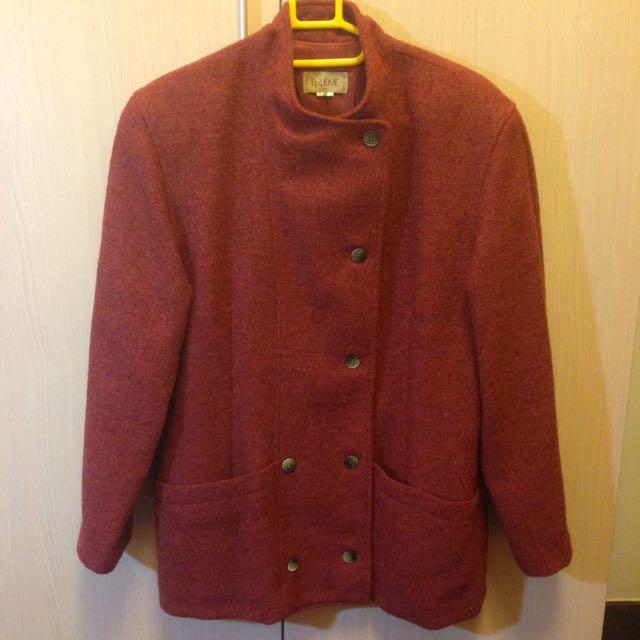 降價💥ENIÈME 酒紅色毛料大衣(含運)