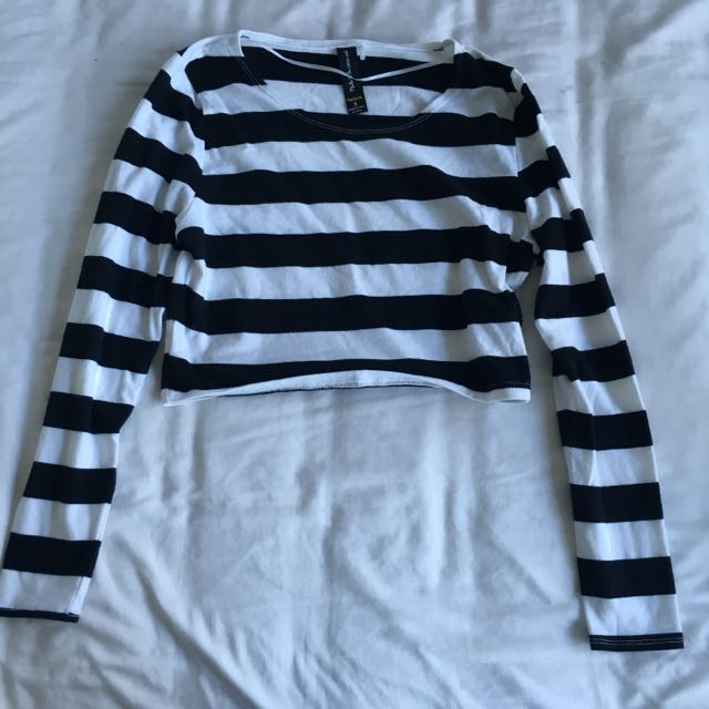 Factorie Black And White Striped Crop Top