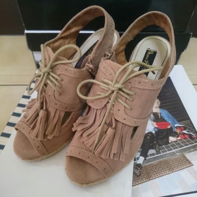 Grace Gift 熱門款 流蘇楔形涼鞋