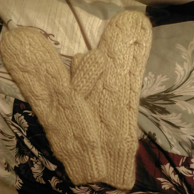 H&M 針織超厚內絨布手套 米白