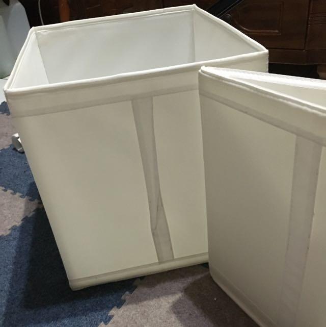 (二手)IKEA 收納箱三入 白色尼龍 可折疊收納