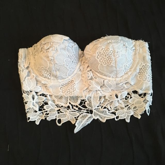 Lace Strapless Crop