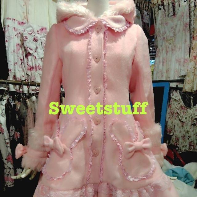 全新//日單Liz Lisa//超甜美蕾絲兔耳大衣外套-粉//含運