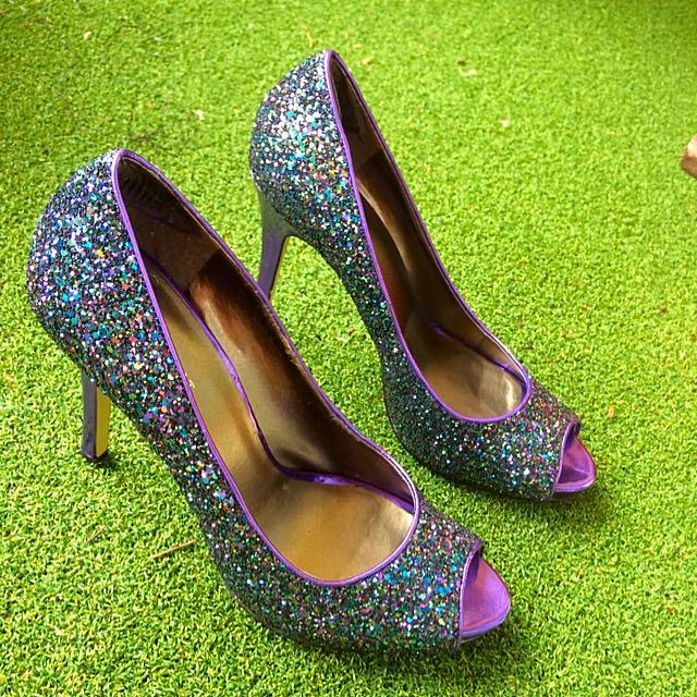 Nine West Purple Glitter Size 9 High Heel
