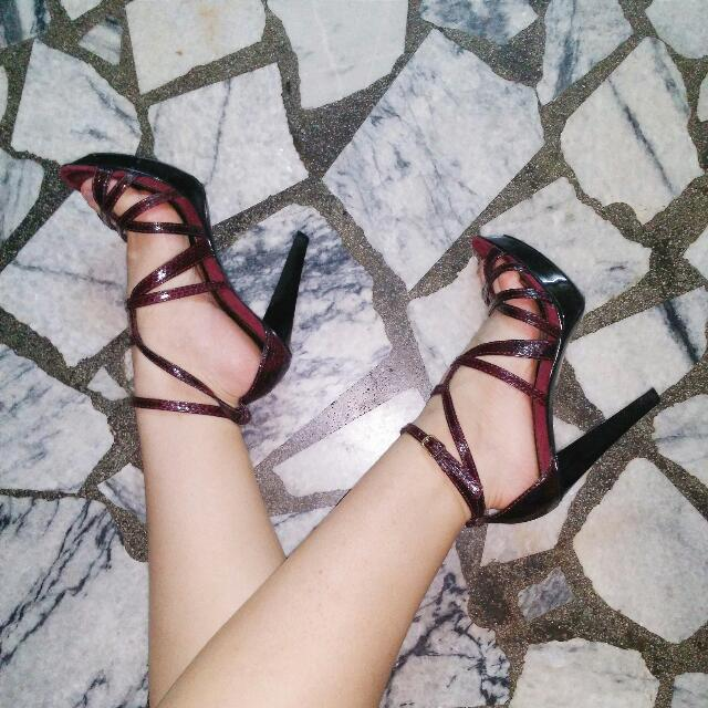 Preloved  Reduced! Charles And Keith Strappy Snake Skin Burgundy Heels