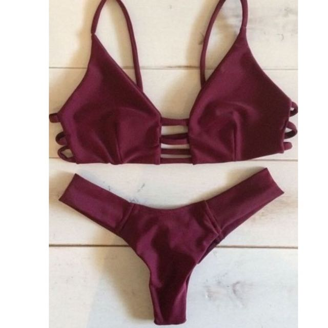 Sexy Wine Color Brazilian Push Up Bikini