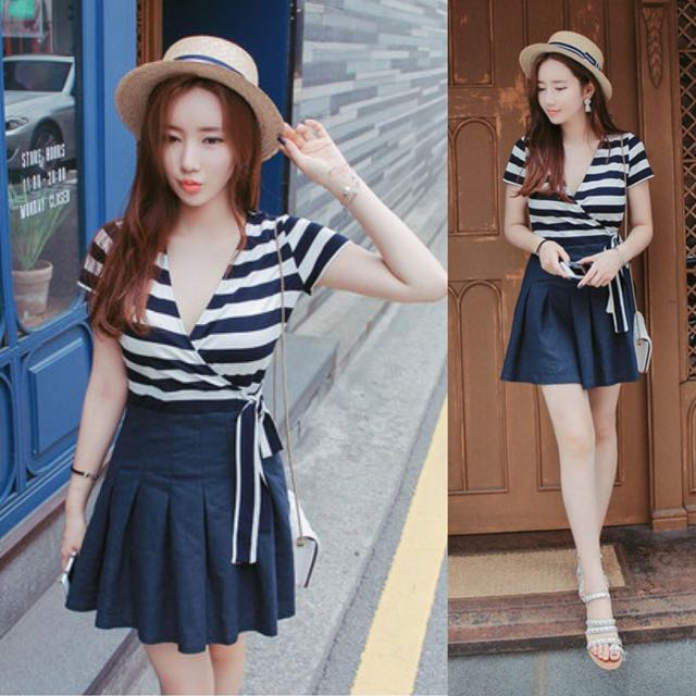 44388ef7070 Sweet Nautical Korean Style Dark Blue White Stripes Stripe Striped Line  Lines Lined Scander Color Block Casual Dress - Code F085