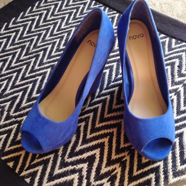 Sz 8 Cobalt Blue Novo Wedges Suede Look