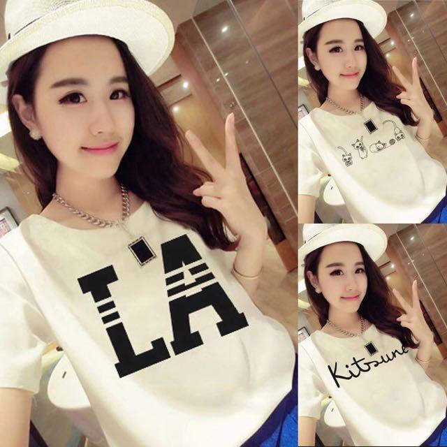 [貝莉潮流]學生寬鬆字母半袖姐妹t恤衫閨蜜裝夏季韓版t恤女款