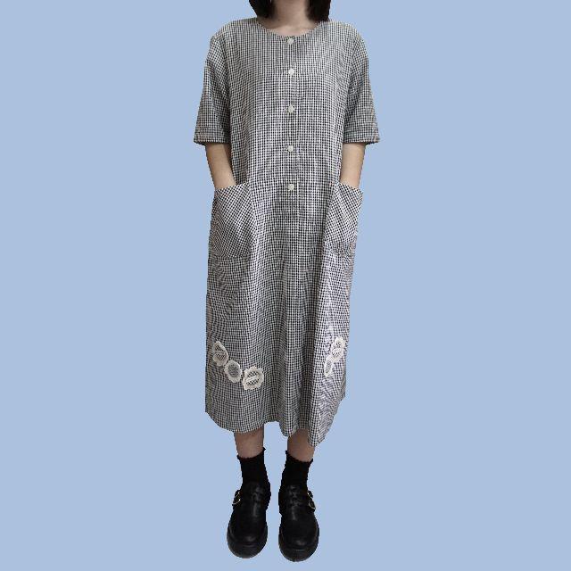 *現貨*黑白小格子古著洋裝雙口袋小花綁帶日本vintage復古日系下北澤森林系SM2長版連身裙morning deer