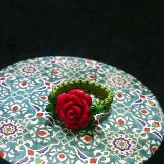 全新手工編織玫瑰戒