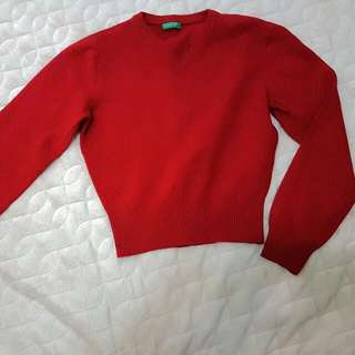 班尼頓 Crop top 紅色長袖短版毛衣