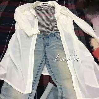 日本連線 專櫃品牌 白色外套罩衫(不易皺材質)
