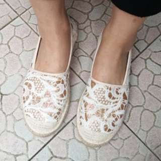 軟底蕾絲懶人鞋 刺繡金粉平底漁夫鞋 編織鞋 布蕾絲 34 35 36 37 38 39(24.5 或 25)號