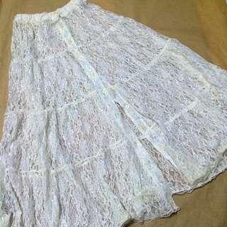 全新/白色全透明蕾絲排扣長裙