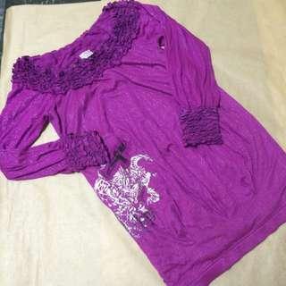 2手/法國娃娃桃紫色長袖洋裝 F碼