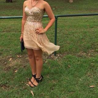 Sherri Hill Formal/prom Dress US Size 2 Gold Sequin