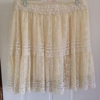Cream Lace Skirt Size 12