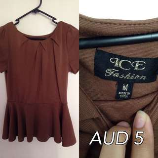 Brown Peplum Top