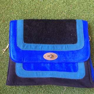 Betts Black And Blue Suede Bag