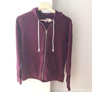 Maroon Zip Up Jacket Size: Medium