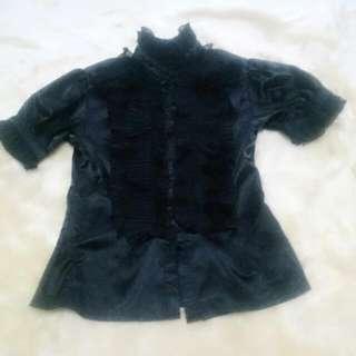 保留 蘿莉塔 日系 日常 黑 緞面 蕾絲 襯衫