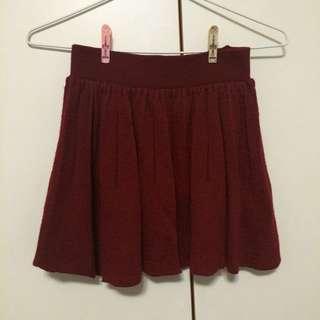 酒紅針織短裙