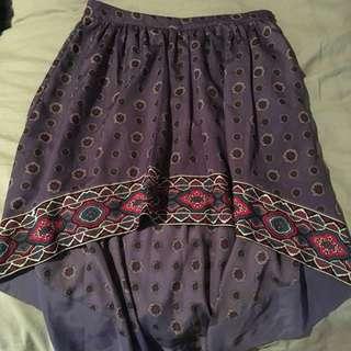 Purple Patterned Mullet Skirt