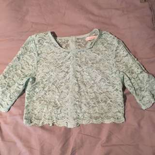 Mint Lace Crop