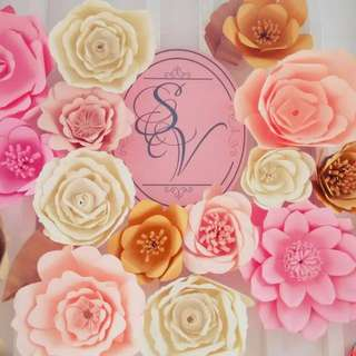 Paper flowers backdrop (Wedding / Birthday / Cooperate / Product Launch / Event deco)