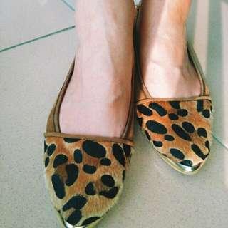 金色滾邊豹紋 休閒鞋 娃娃鞋 平底鞋 24號