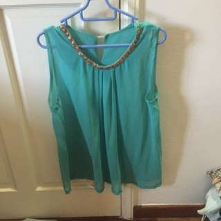 The Closet Lover TCL Blue Jewelled Neckline Top