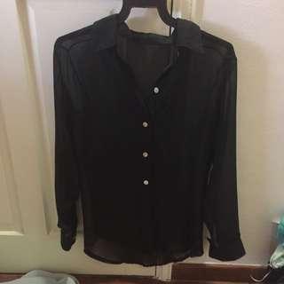 Black Chiffon Long Sleeve Top