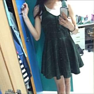 綠格紋短氣質毛呢洋裝