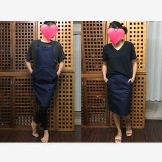 泰國本土品牌 JASPAL 深藍牛仔多變多穿吊帶長裙