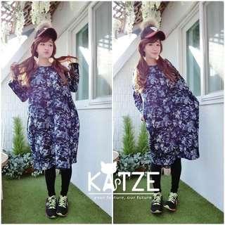韓國連線購買 跟網路賣家katze購買 水彩潑墨保暖長洋裝
