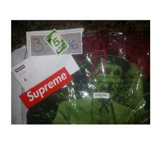 Mens Supreme SS16 Red Bourroughs Hoodie sz. LARGE