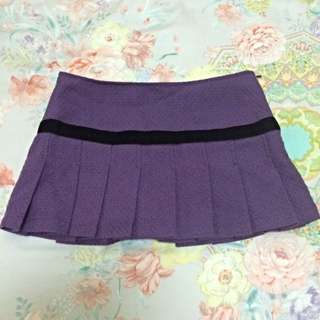 紫色毛呢百褶裙 M碼