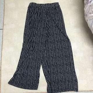 二手長寬管絲質長褲