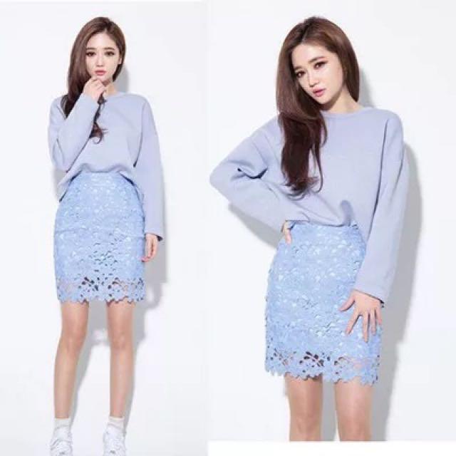 韓版高腰包臀蕾絲裙