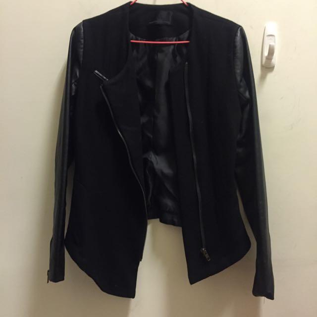 🔺拼接皮革修身外套