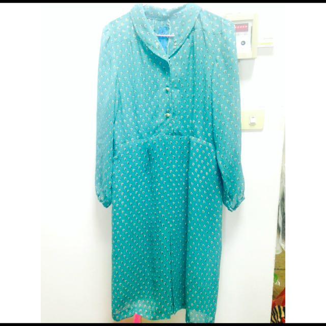 綠色小花長袖洋裝古著
