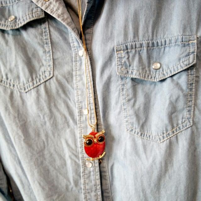 造型紅貓頭鷹項鍊