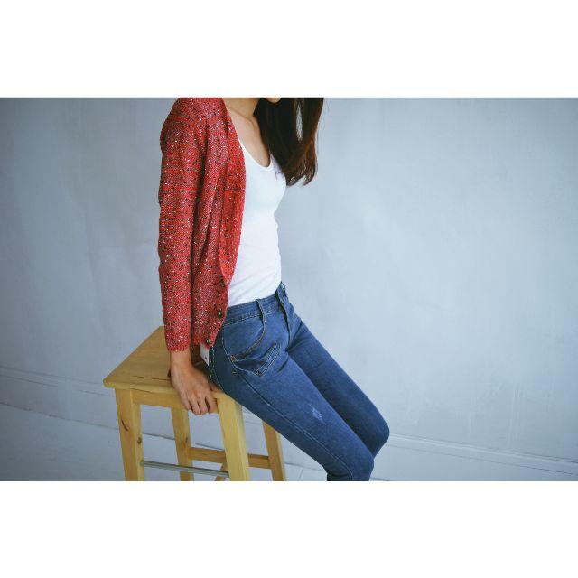 暖春。顯瘦薄針織外套罩衫。磚紅
