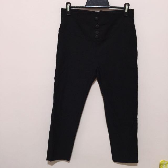 高腰黑色長褲