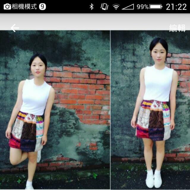 復古拼布裙