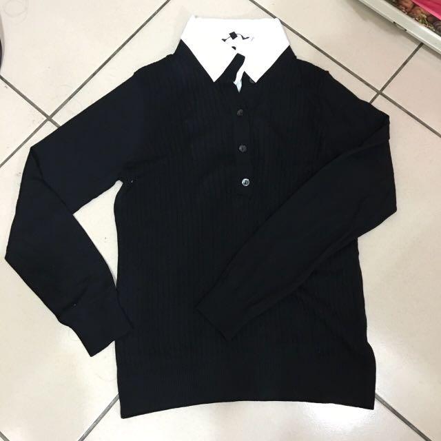 黑色假兩件針織上衣