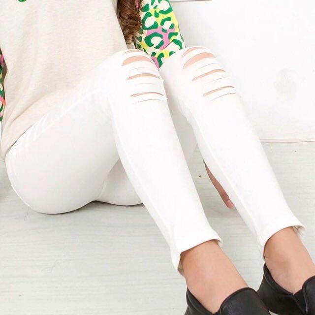 【貝莉潮流】 2016春夏韓版正妹必備刷破褲 薄彈力破洞仿牛仔鉛筆褲打底九分小腳長褲
