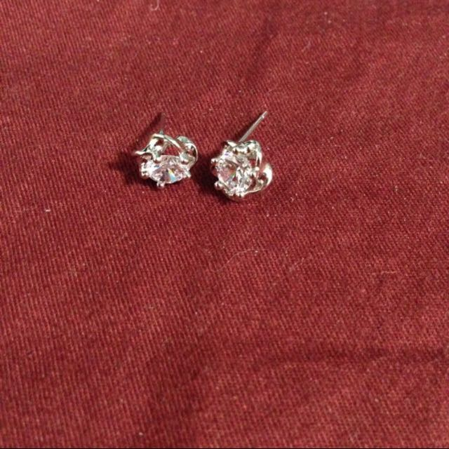 純銀 鑽耳環