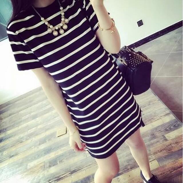 條紋洋裝 連身裙 長版 黑白短袖上衣 短t